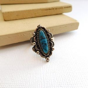 Vintage Faux Turquoise Silver Southwestern Ring
